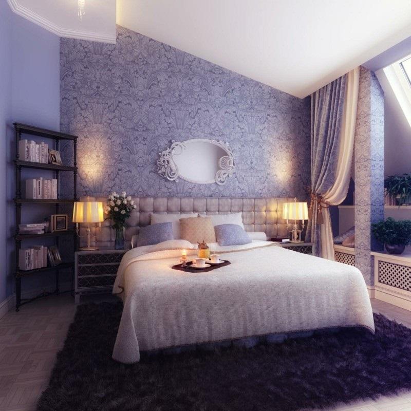 Лилавият цвят в интериора на дома-спалня