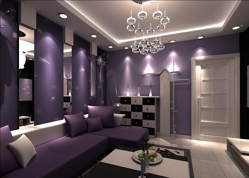 Лилавият цвят в интериора на хола