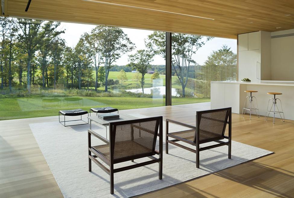 Модерен-интериор-на-всекидневна-бял-килим